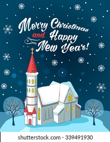Christian Church With Text Merry Christmas And Happy New Year. Winter Landscape. Vector Illustration Card. Christian Church Near Me. Christian Church Architecture.  Christian Church Organization.