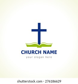Christian church vector logo. Blue colored crucifixion, open green book with cover and pages. Religious educational symbol. Bible learning and teaching class.