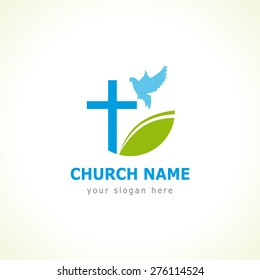 Christian church vector logo. White colored circle, crucifix, blue flying dove and green leaf. Religious educational symbol. Abstract isolated graphic design template. Creative logotype concept.