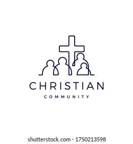 christian community people family logo vector icon illustration