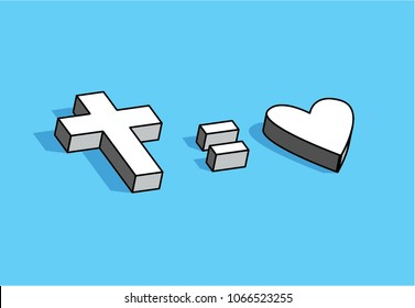 "christian concept ""god is love"" 3d graphic cross on blue background"