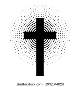 Christian cross with abstract dotted sun rays. Christian cross icon. Black religion symbol. Vector illustration. Abstract religion icon.