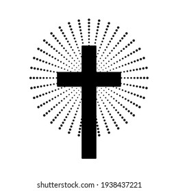 Christian cross with abstract dotted sun rays. Christian cross icon. Vector illustration.
