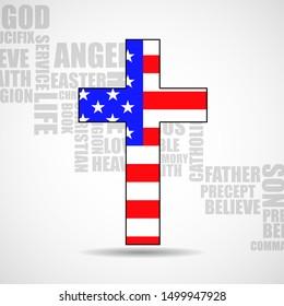 Christian cross of America flag on background religious words. Vector illustration. Eps 10