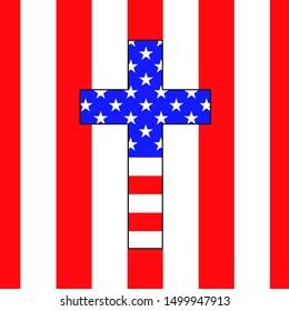 Christian cross of America flag. Vector illustration. Eps 10