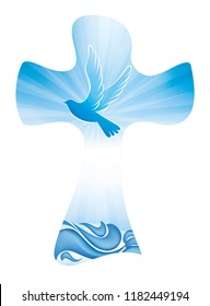 Christian cross baptism symbol with dove and waves of water on blue background