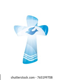 Christian cross baptism with waves of water and dove on blue background. Religious sign. Multiple exposure