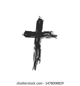 Christian cross church icon set logos. Christianity symbol of Jesus Christ. Natural black and white brush strokes with rough edges. Silhouette outline of cross.