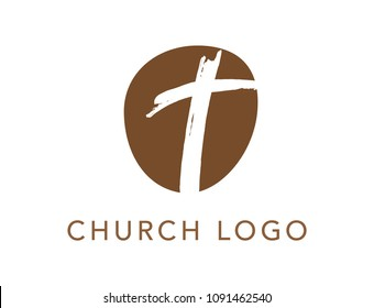 Christian cross church logo. Christianity symbol of Jesus Christ. Natural brown brush strokes with rough edges. Silhouette outline of cross.