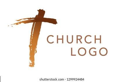 Christian cross church logo. Christianity symbol of Jesus Christ. Natural brush strokes with rough edges.