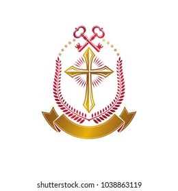 Christian Cross decorative emblem composed with security keys. Heraldic vector design element. Retro style logo, religious vintage golden symbol. Faith is a key to salvation.