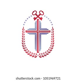 Christian Cross decorative emblem composed with security keys. Heraldic vector design element. Retro style logo, religious vintage symbol. Faith is a key to salvation.
