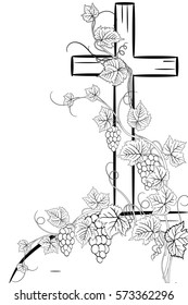 christian cross and grape   on white background