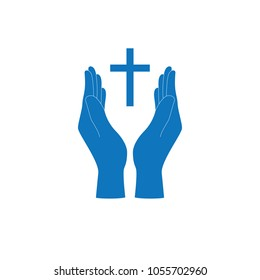 Christian cross and hands of worship and pray for church logo icon.