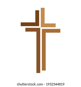 Christian cross icon. Abstract cross on white background. Religion symbol. Vector illustration.