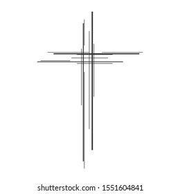 Christian Cross icon. Church cross isolated. Black religion vector symbol