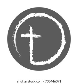 Christian cross icon in the circle. Abstract christian cross, isolated on white background. Vector illustration.