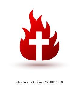 Christian cross icon in fire shape. Isolated religion symbol. Vector illustration. Church logo