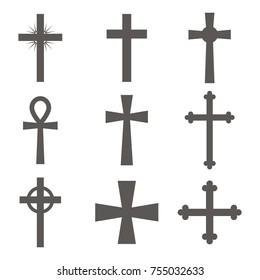 Christian cross icon in flat design. Set of Christian crosses on white background. Vector illustration.