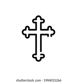 Christian Cross Icon Logo Illustration Vector Isolated. Christ and Easter Icon-Set. Suitable for Web Design, Logo, App, and UI. Editable Stroke and Pixel Perfect. EPS 10.