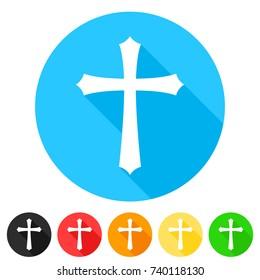 Christian Cross Icon Round Flat Vector Art Design Color Set