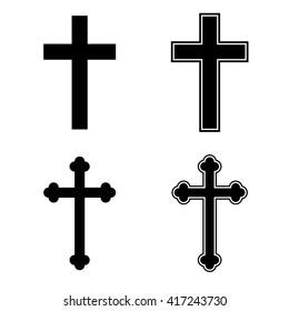 Christian cross icon set religion catholic