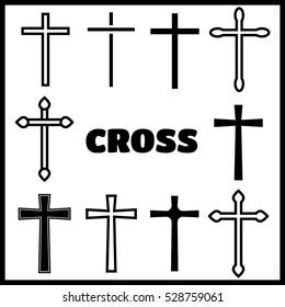 Christian cross icons. line black christian cross