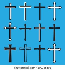 Christian cross icons. line black christian cross. Cross vector