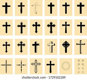 Christian Cross Icons Set. Vector illustration. hope, Cross symbol,