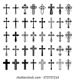 Christian cross icons. Vector line black christian cross set on white background