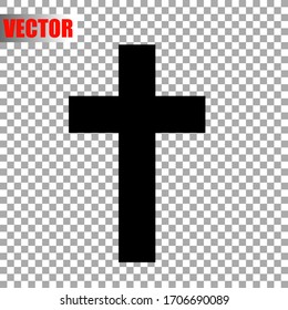 Christian cross isolated on transparent background. Religious symbol. Vector illustration