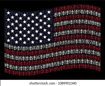 Christian cross items are arranged into waving United States flag stylization on a dark background. Vector composition of American state flag is created with Christian cross elements.