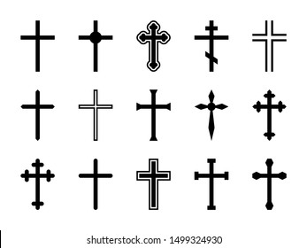 Christian cross. Jesus Christ crucifix, different shapes of orthodox and catalytic crosses religious silhouette signs vector decorative art god design isolated set