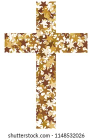 Christian cross made of golden stars