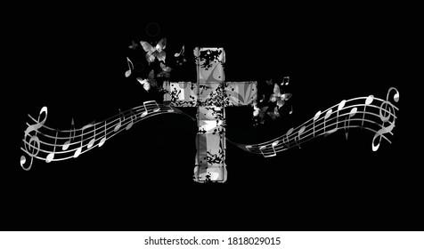 Christian kreuzen mit Musiknoten, Vektorgrafik. religiöser Hintergrund. Design für gospelige Kirchenmusik, Chorsang, Konzert, Festival, Christentum, Gebet