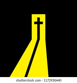Christian cross in the open door. Christian symbol. Way from the darkness to the light, to belief, to salvation. Vector illustration.