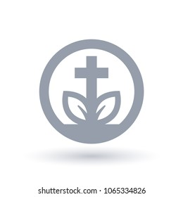 Christian cross plant leaf icon in circle outline. Concept spiritual growth symbol. Church life sign. Vector illustration.