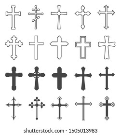 Christian cross set. Catholic and orthodox crucifix crosses. Divine religion, faith pray and church outline vector symbols