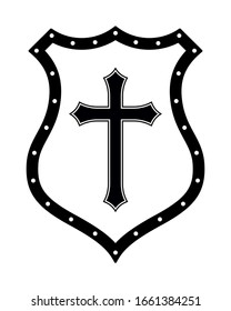 Christian Cross and Shield of Faith. Church Logo. Religious Symbol. Creative Christian Icon. Protection, Safety, Security Sign. Black and White
