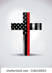 A Christian cross showing support for firefighters. Vector EPS 10 available.
