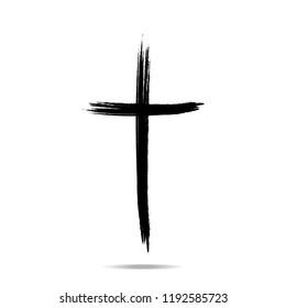 Christian cross sign. Hand drawn black grunge cross icon. Vector illustration. eps10