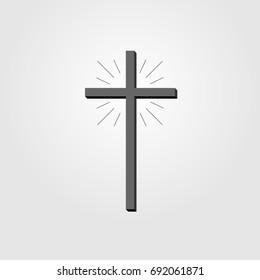 Christian Cross sign, cross icon on white background, cross vector