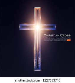 Christian Cross Sign with Shining Light Effect. Vector illustration
