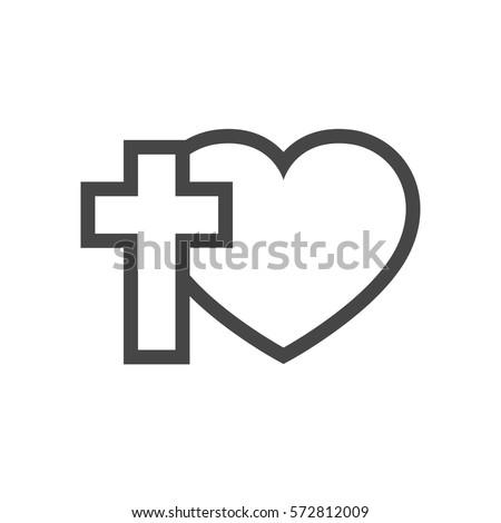 Christian Cross Silhouette Heart Gray Symbol Stock Vector Royalty
