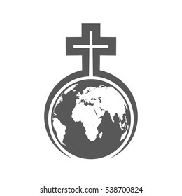 Christian Cross stands over the Globe. Globe Earth in the embrace of a Christian cross. Vector illustration