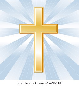 Christian Cross Symbol, Golden crucifix, icon of the Christian faith on a sky blue background with rays. EPS8 compatible.