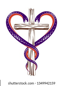 Christian cross and two snakes in a shape of heart, religion symbolism, vector logo or tattoo.