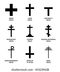 Christian cross variants. The nine most important main religious symbols of Cristianity, widely used in and on churches, on bibles, in heraldy, in personal jewelry and on hilltops. English labeling.