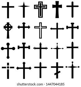 Christian cross vector icons cet. Christian cross icon illustration. Christian cross symbol collection.