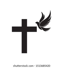 Christian cross with wings pigeon. Christian church creative logo design.